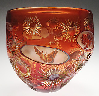 Padded cameo vase by Allister Malcolm & Helen Millard.